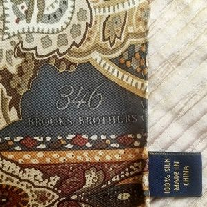 Brooks Brothers Pure Silk Paisley Brown Mens Scarf